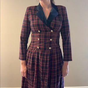 Vintage Dresses - Vintage 80s Lanz Plaid Double Breasted Midi Dress